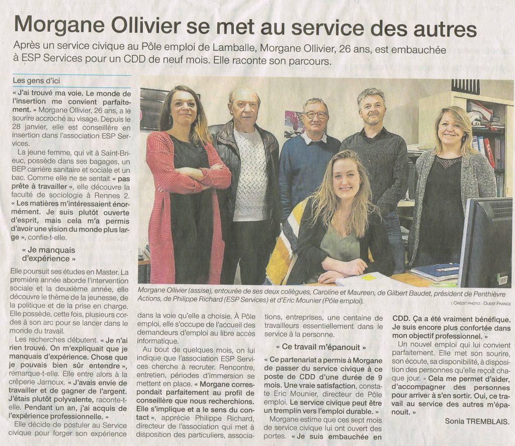 Morgane rejoint l'équipe de l'Association Intermédiaire ESP Services à Lamballe.